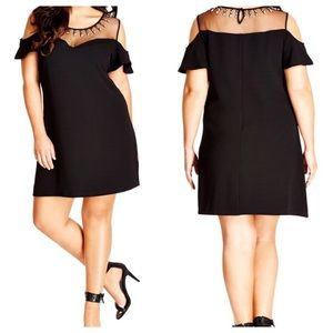 CITY CHIC stud star off the shoulder shift dress
